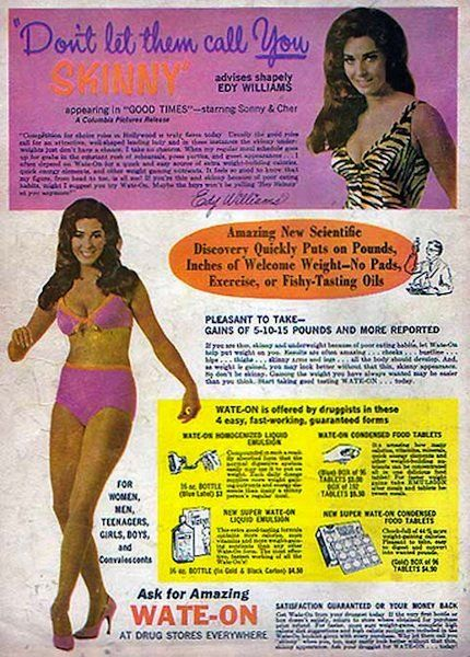 Don't let them call you skinny: Edy Williams for Amazing Wate-On. She would later become Mrs. Russ Mayer, King of T&A: Wated On Ads, Amazing Wateon, Gain Ads, Edie Williams, Advertising Women Weights, Vintage Weights, Weights Gain, Weight Gain, Vintage Ads