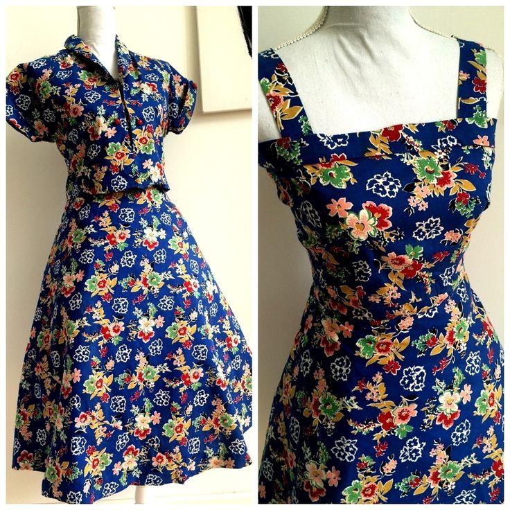 40s 50s - 3pc Hawaiian Bolero+HalterTop+Skirt Dress - W28 (72cm), €150