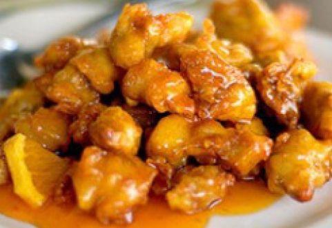 HCG Diet Sweet & Sour Chicken Recipe Main Dishes with chicken breasts, orange, lemon, water, liquid aminos, apple cider vinegar, minced onion, lemon, garlic powder, onion powder, hot sauce, cayenne pepper, salt, pepper, stevia