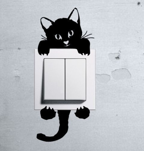 Cute Kitty Cat Baby Pet light switch funny wall decal vinyl stickers u #StickersShopOne #AnimalPrint