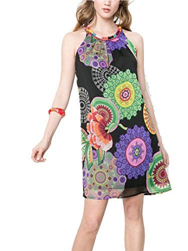 Desigual Womens Woven Dress Straps 11 Blue 40 ** You can get more details by clicking on the image.(This is an Amazon affiliate link and I receive a commission for the sales) #FashionDresses
