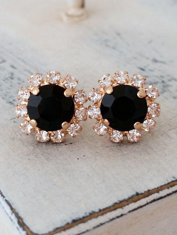 Rose gold black crystal stud earrings by EldorTinaJewelry on Etsy