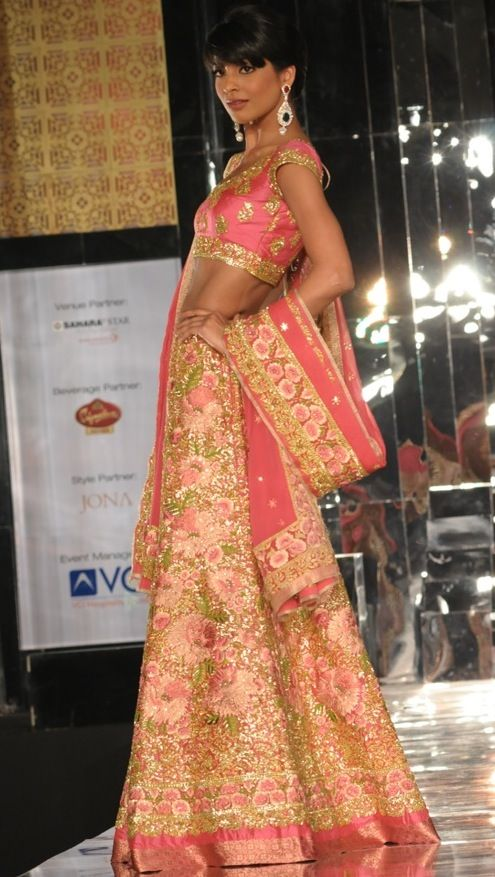 Pretty in pink traditional gold embroidery paired with