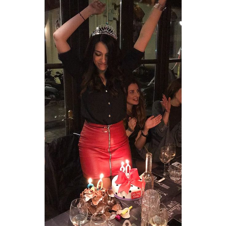 Girls night out -- Birthday girl Gianna Davidiadou looks astonishing wearing our faux leather ring skirt #boomlooks #modaboom #woman #fashion #online