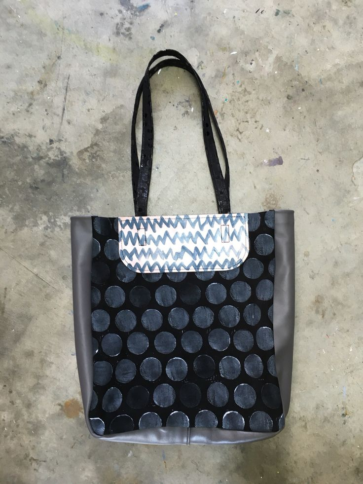Hand printed leather tote Designed and made by Julia Flanagan for Frejj, 2016  www.frejj.com