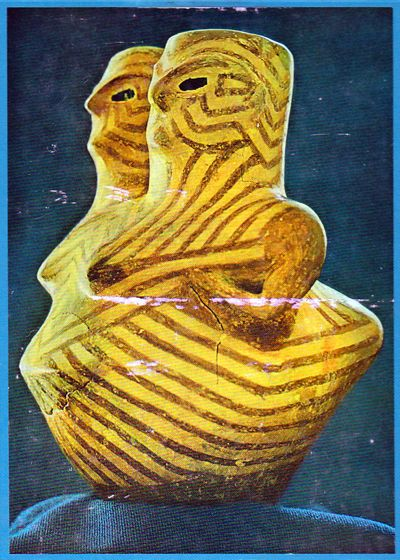 Painted vase in form of squatting woman, Hacilar, Anatolia, c. 5200 BCE. Eyes inlaid with obsidian.