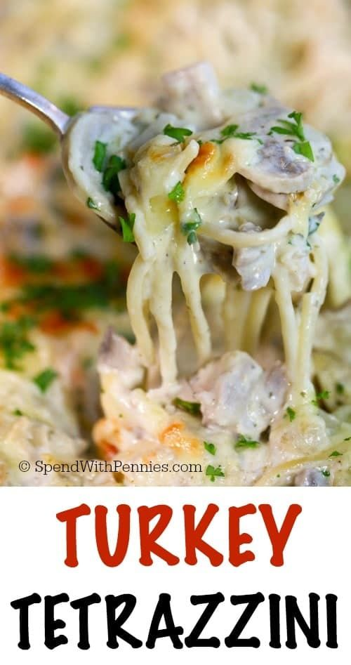 This Turkey Tetrazzini recipe is the perfect way to enjoyleftover turkey. Tender turkey chunks, mushrooms and pasta are smothered in a rich and creamy sauce and topped with cheese. Everything is baked until hot and bubblyfor adish hearty enough to satisfy a crowd and tasty enough to get everyone excited about leftovers like never before.