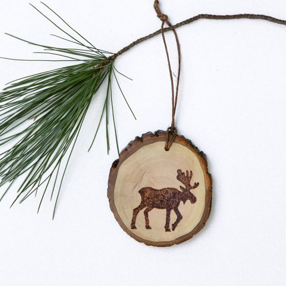 Wood Burned Moose Silhouette Ornament by ForageWorkshop on Etsy, $15.00
