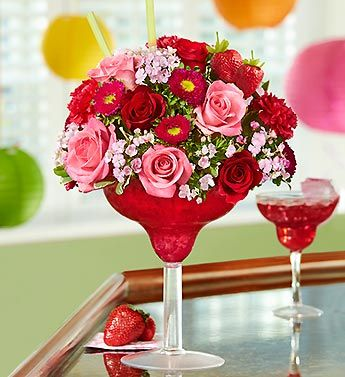 Strawberry Floral Margarita®Happy Hour, Floral Margaritas, Glasses, Valentine Day, Gift Ideas, Flower Bouquets, Acrylics, Parties Ideas, Strawberries Floral