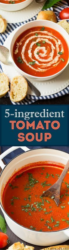 5-Ingredient Tomato Soup ( ready in 20 minutes!) - love love this easy recipe! Perfect for a quick weeknight dinner with grilled cheese or fresh bakery bread! @progressosoups #ProgressoEats #spon