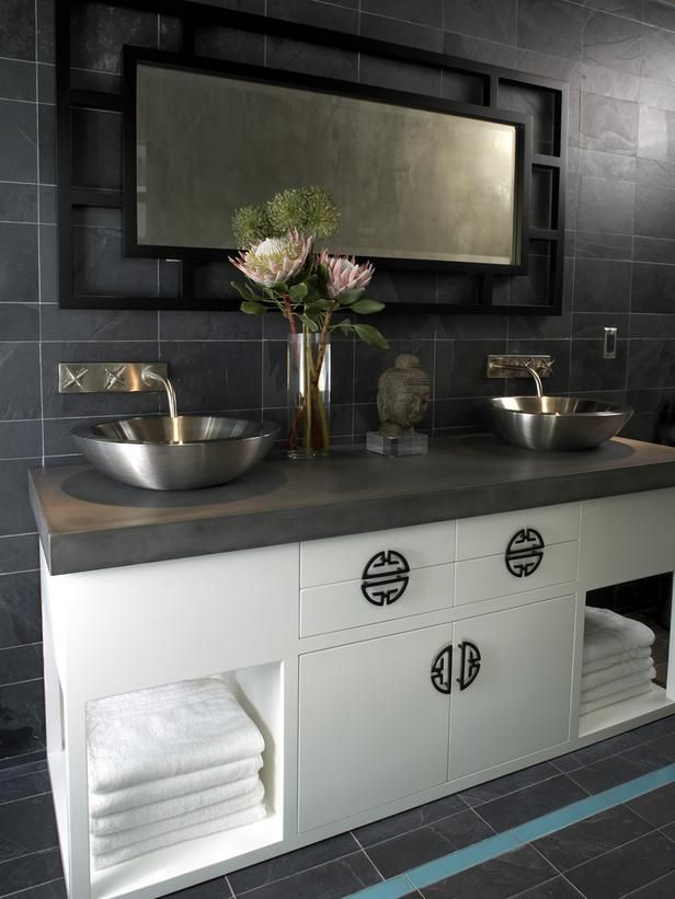 Gray Bathroom With Zen Style Clean Lines Vessel Sinks And Asian Cabinet Hardware