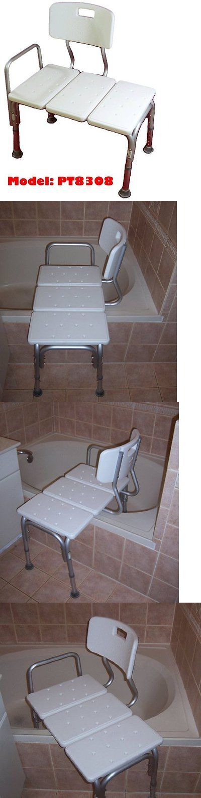 Transfer Boards and Benches: Medmobile® Bathtub Transfer Bench / Bath Chair With Back, Wide Seat, Adjustable BUY IT NOW ONLY: $76.62