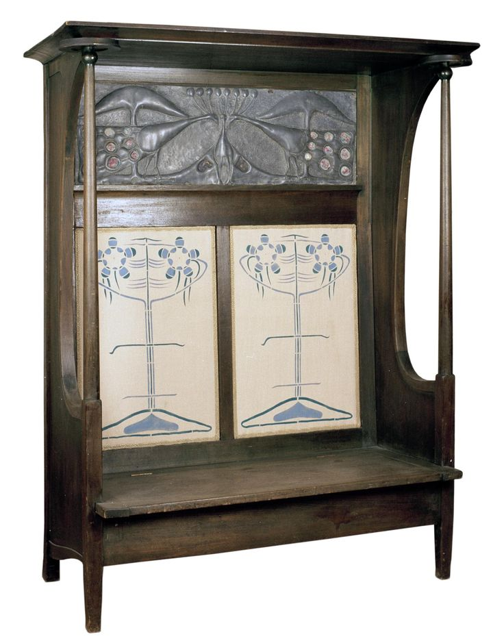 Settle of green-stained ashwood  designed by Charles Rennie Mackintosh and made by J. & W. Guthrie, Glasgow, 1895. Lead panel possibly by Margaret Macdonald Mackintosh. Exhibited with the Arts and Crafts Exhibition Society, 1896, and later given to John Macdonald of Dunglass Castle, Bowling, Dunbartonshire. Linen panels replaced with copies around 1990.