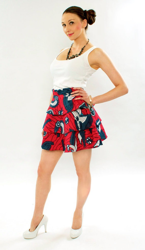 A bright handmade Tribal African wax print three tiered skirt. Bright skirts are perfect for summer.