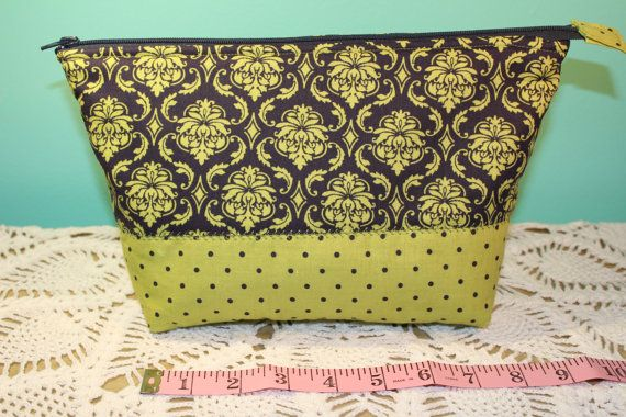 Flat Blottom Bag   Lined  Padded   Olive Green & by KRaeDesign