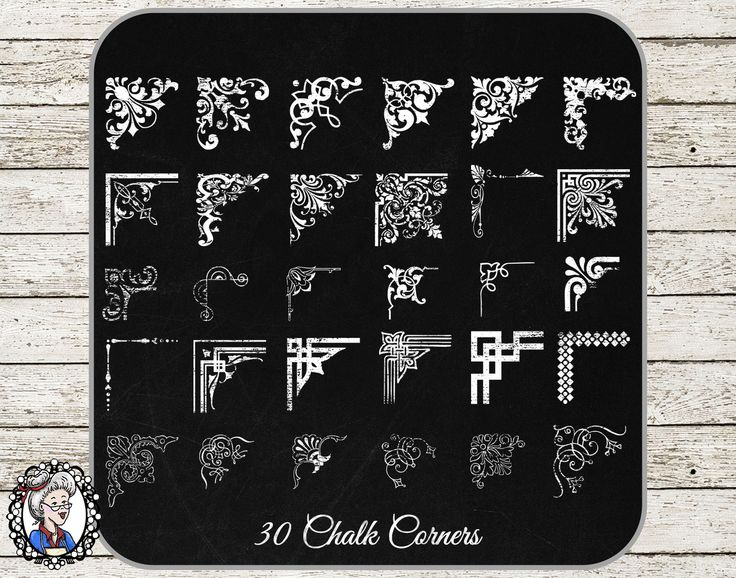 Clipart: 30 Corners in Black White Chalk for Scrapbooking Decorative Calligraphy Photographer Frame Corners - 90 PNG,EPS,PSD by NanaVicsDigitals on Etsy