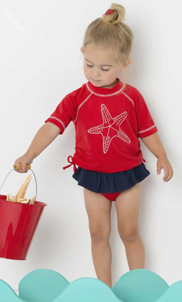 Infant girl swimsuits with rash guard-8634