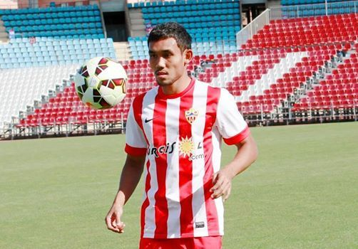 Teerasil Dangda, 26, is the only professional Thai footballer to ever hit Spainish La Liga. Playing forward on loan in the roster of UD Almeria from Muangthong Untied and The Thailand national team.