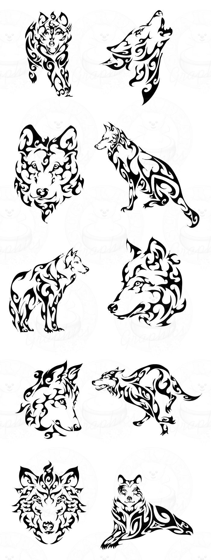 Tribal Wolves 4 Left:
