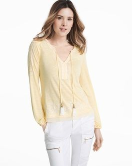 "There's nothing better than a dressed up long-sleeve top…like our latest version with eclectic white embroidery along the neckline, shoulders and hem. Finished with white tassel ties, it's soon to be your go-to top to wear with white cargo pants or dark wash denim.   Long-sleeve embroidered top in canary yellow V-neck with white tassel ties with silvertone and goldtone beaded ends Elasticized cuffs; high-low hem Regular: Approx. 24"" from shoulder Petite: Approx. 22 1/2"" from shoulde..."
