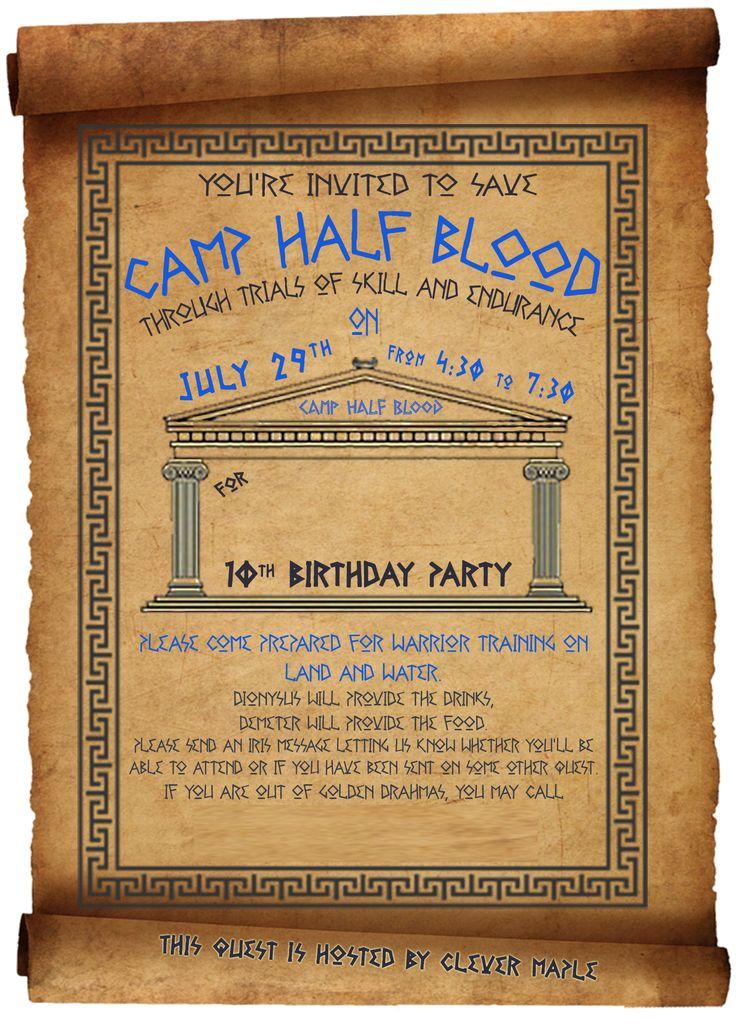 Percy Jackson Birthday Party invitation                                                                                                                                                                                 More