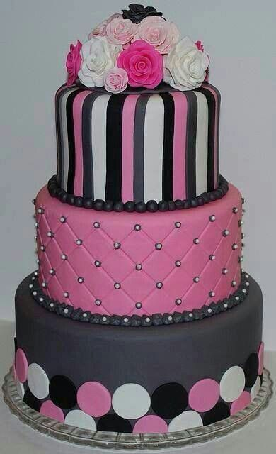 pink n black cake too pretty to eat?