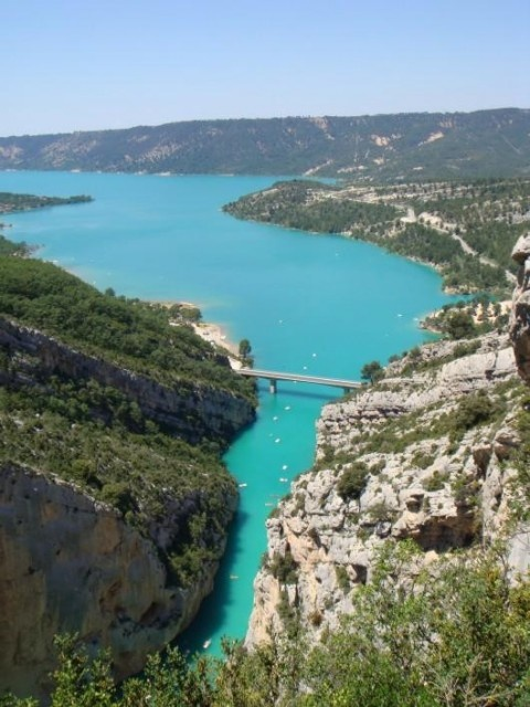 Gorges du Verdon, lac de Ste Croix. Always spooks me to think an entire village was abandoned and now lies at the bottom of the lake...