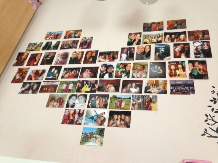 Heart shape photos in bedroom. Looks awesome! And it's very easy to do