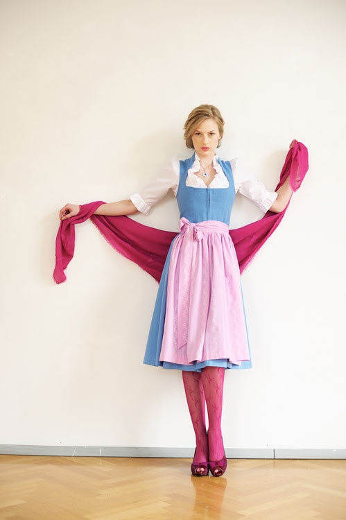 Pink, white and blue dirndl