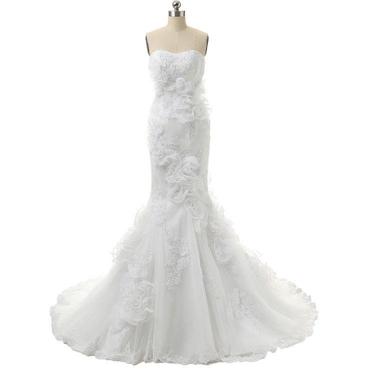 ==> [Free Shipping] Buy Best Ivory Mermaid Wedding Dresses Organza Hochzeitskleid Vintage Floor Length Appliques Lace Up Back Berta Bridal Wedding Dress Online with LOWEST Price | 32734889393