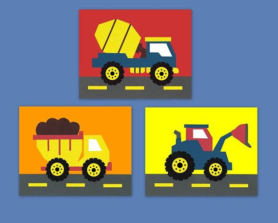 construction theme, transportation theme, truck, tractor, digger, blue, yellow, red, cars, set of 3, Nursery or children's room artwork on Etsy, $33.00