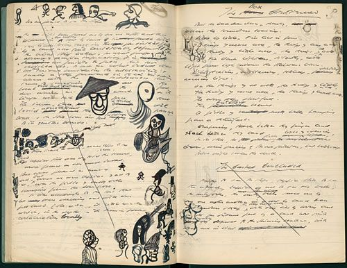 The first page of the second notebook of Samuel Beckett's 'Watt,' signed and marked 'Watt I,' dated '3/12/41.' Even geniuses doodle!
