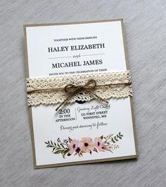 Vintage Wedding Invitation Lace Wedding by LoveofCreating on Etsy