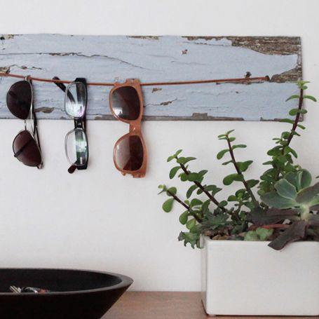 Like this idea because I have lotsss of sunglasses and think they are neat to look at  An Easy DIY Project to Hold your Glasses | EcoSalon | Conscious Culture and Fashion