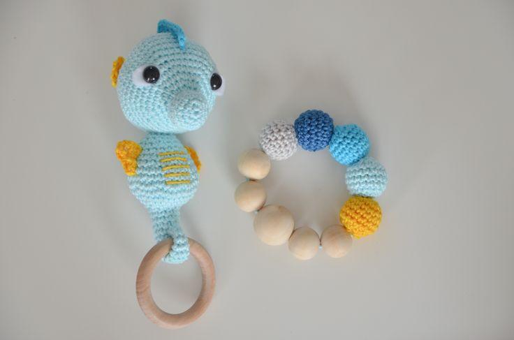 Crochet seahorse and teething ring  www.hackovane.sk