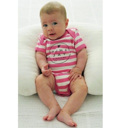 Zuma Jay Baby Short Sleeve Bodysuit Pink Stripe