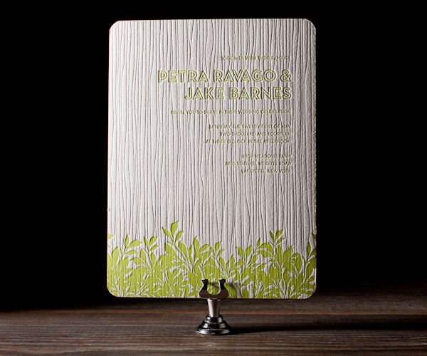 Modern wedding invitations with botanical personality, Canopy by Ellie Snow is charming and sweet with long branches hanging from letterpress trees.