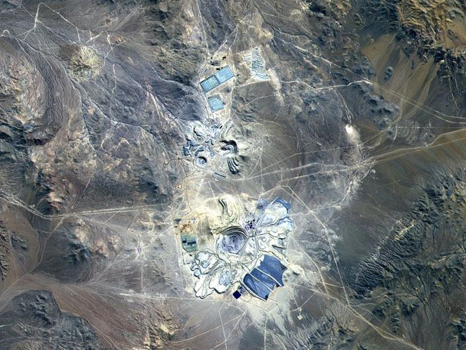 Escondida Mine, Chile | Opened in 1990 at 10,000 feet in northern Chile's Atacama desert, this mine currently produces more copper than any other mine in the world,