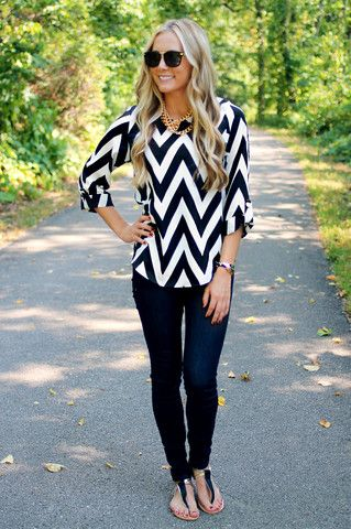 Try a fun print, like this bold chevron top for a fun and trendy take on a classic white & black and white look.