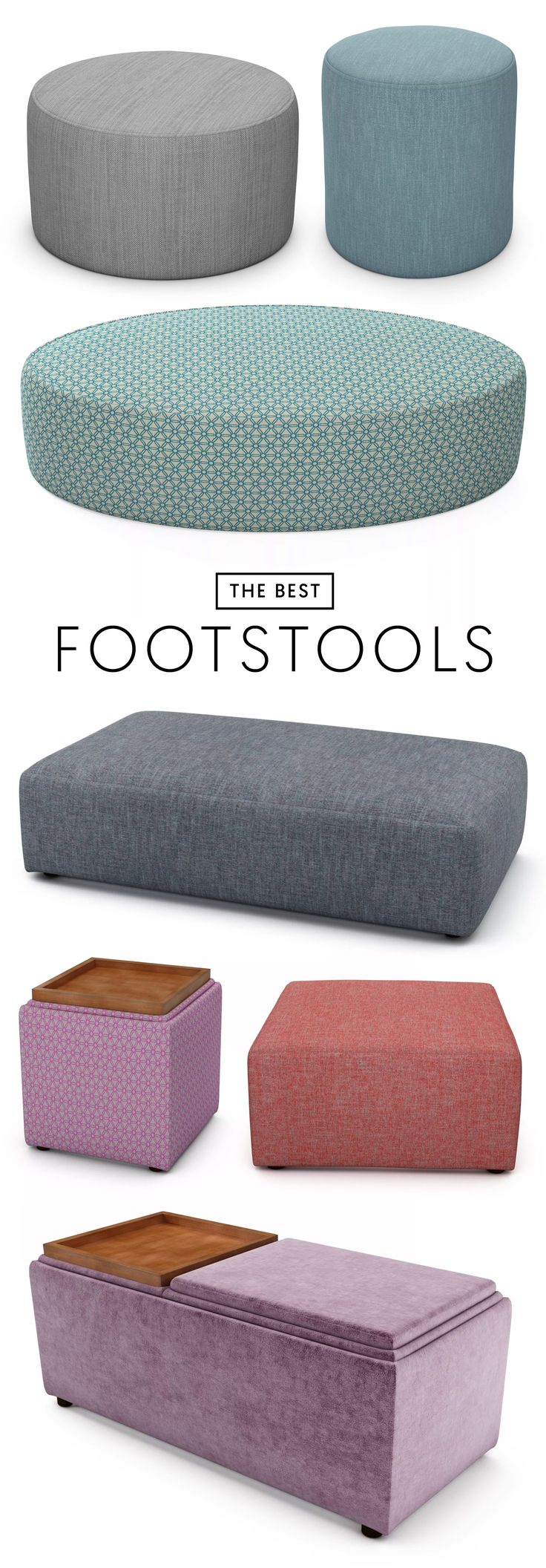 The Best 7 Footstools | 1. Harrison Circle in Pigeon Foot 2. Harrison Tall in Peacock Tail 3. Harrison Oval in Stargazer Blue 4. Taylor Oblong in Inkcap Mushroom 5. Taylor Storage Cube in Stargazer Pink 6. Taylor Square in Family Fire Coral 7. Taylor Storage Bench in Spring Squill #theloungeco #sofa #chair #footstool #ottoman #storage #stylishstorage #lounge #furniture