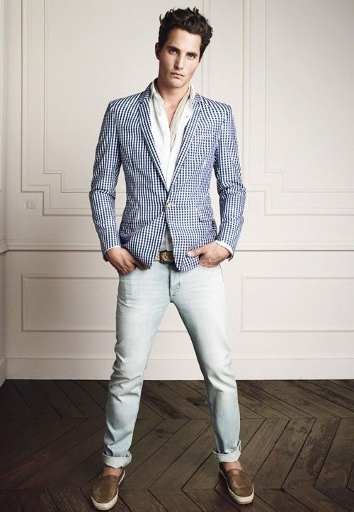 Blue Stripes Blazer Light Blue Jeans Brown Shoes White Shirt