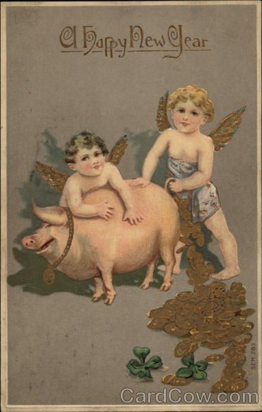 Two Cherubs and Pig, Plus Pile of Gold Coins