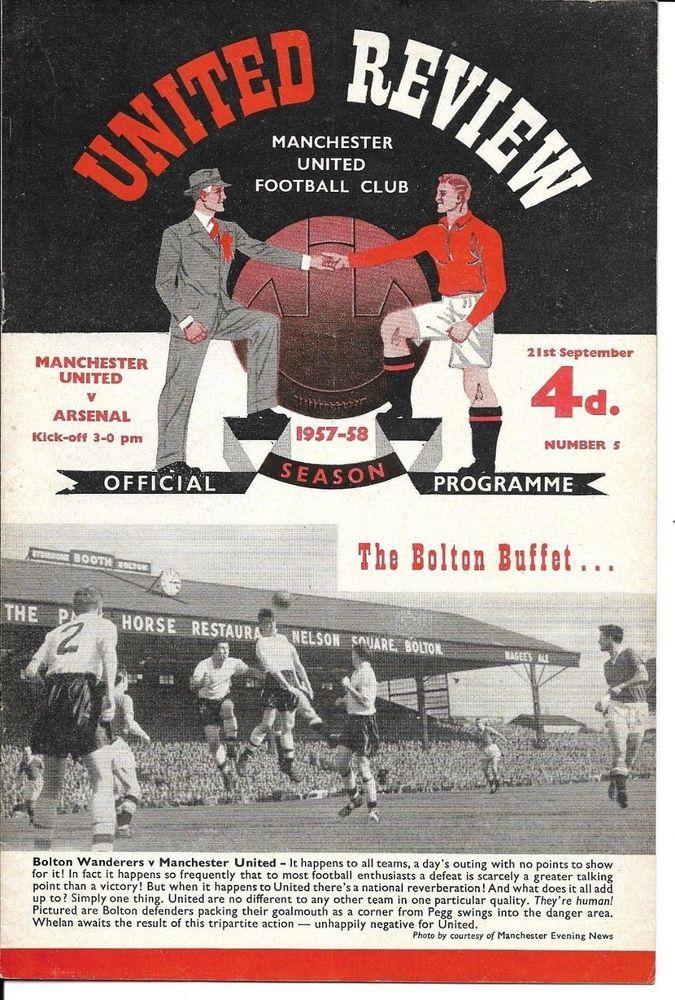 1957 58 Man Utd V Arsenal Pre Munich 21 Sept 1957 Old Trafford Post Free Good Soccer Players Old Trafford Luton Town