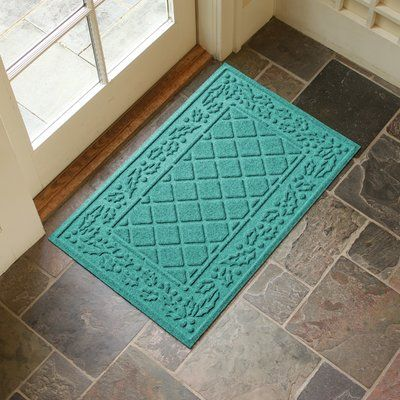 Alcott Hill Olivares Diamond Holly Outdoor Doormat Color: Aquamarine