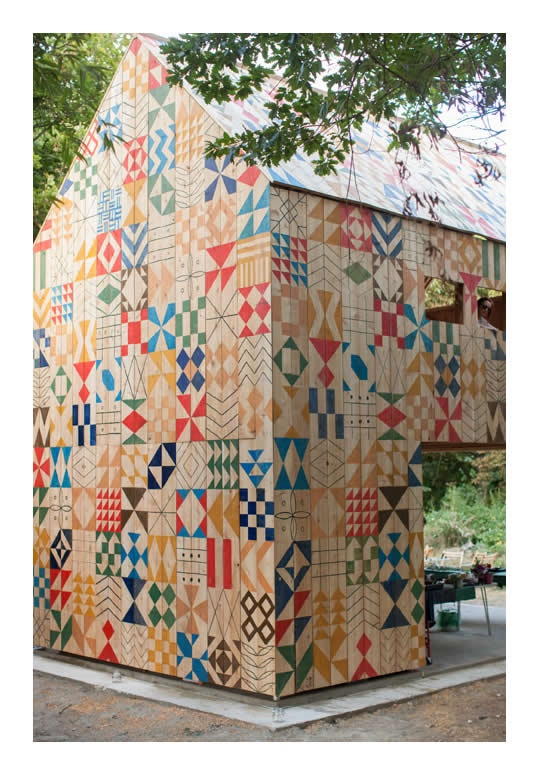 As part of Artlands' Ecology Island Project, design collective Nous Vous and architecture team Studio Weave created this beautiful hand-painted workshop to various community art events in Kent.