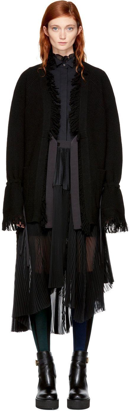 Сакай - черный поясный ржавый кардиган