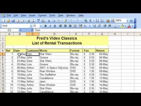 Microsoft Excel Tutorial for Beginners #26 - Database Pt.2 - Freeze & Split Table Navigation - YouTube