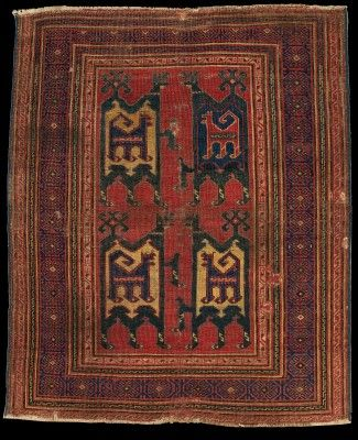 Confronted Animal Rug, 13-14th Century. Late Seljuk (Anatolian Seljuks: 1077-1308), Ilkhanid (1256-1335) or Eldiguzids (Atabegs of Azerbaijan 1135-1225)  Turkey or Caucasus. The Metropolitan Museum of Art, New York