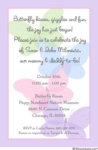 baby girl shower christian invitations | Purple Butterfly Shower Invitation - Pastel Wording