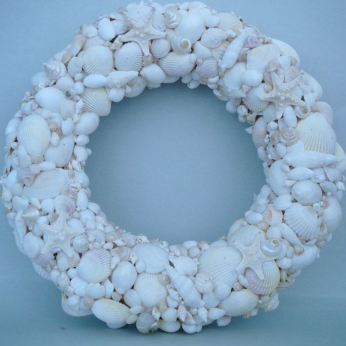 Seashell White Wreath beach house décor by BeachJettyCottage on Etsy
